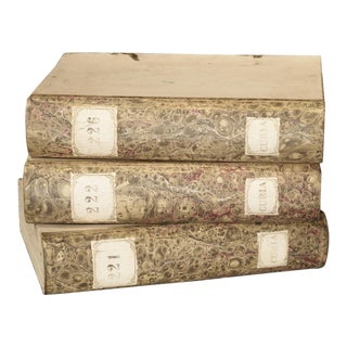 Decorative Set of 3 Antique Faux Book Document Holders From Italy, C.1915 For Sale
