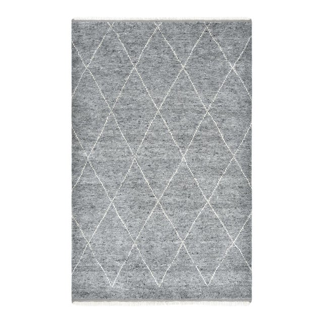 Shaggy Moroccan, Bohemian Shaggy Moroccan Hand Knotted Area Rug, Gray, 8 X 10 For Sale