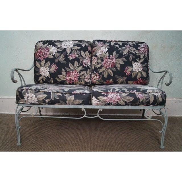 Custom Floral Cushion Iron Patio Settee - Image 2 of 10