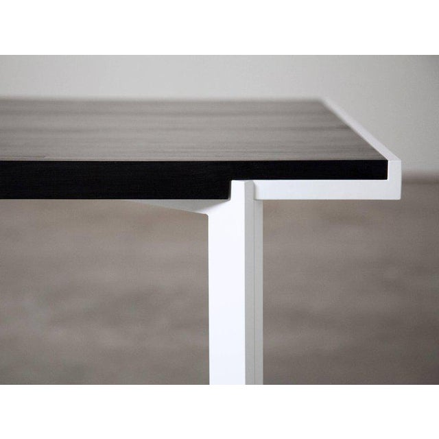 Not Yet Made - Made To Order Contemporary White Powder-Coated Steel and Ebonized Maple Trace Table For Sale - Image 5 of 6