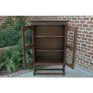 1930's Antique English Oak Barley Twist Bookcase Display Cabinet Jacobean Preview