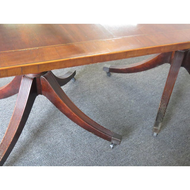 Mahogany Baker Georgian Style Double Pedestal Dining Table For Sale - Image 7 of 11