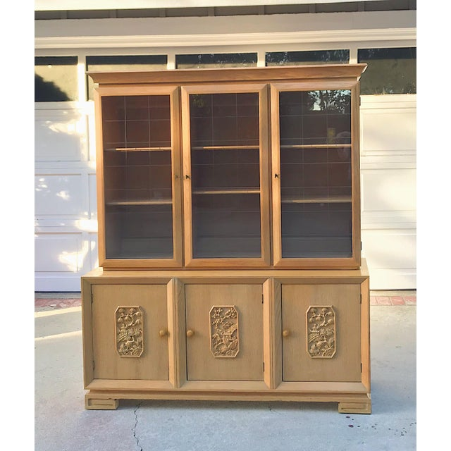 Mid-Century Chinoiserie Glass Front Cabinet - Image 8 of 8