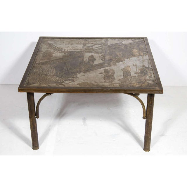 """Asian Mid Century Acid Etched Cocktail """"Chan Series"""" Table by Philip & Kelvin LaVerne For Sale - Image 3 of 10"""
