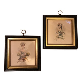 Vintage Hollywood Regency Southern Belles Lady Framed Picture Prints - A Pair