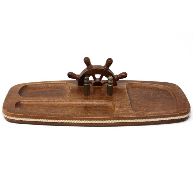 Vintage Wood Nautical Dresser Valet For Sale - Image 4 of 11