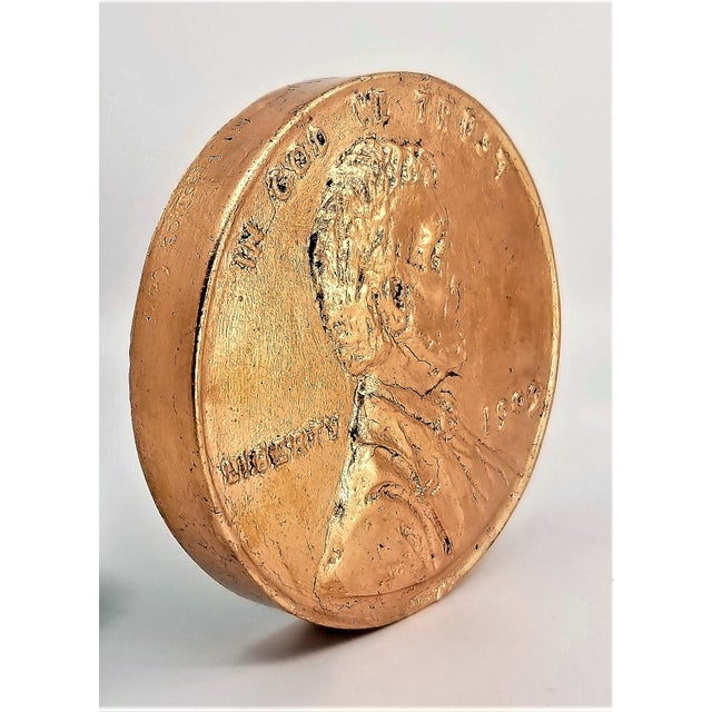 Pop Art Vintage Sculpture of an Overscaled Copper Penny - Signed and Dated - Andy Warhol Abstract Mid Century Modern Surrealism Palm Beach For Sale - Image 4 of 13