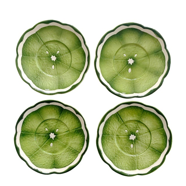 Mid 20th Century Lenwile Ardalt Artware Lime Citrus Saucers - Set of 4 For Sale