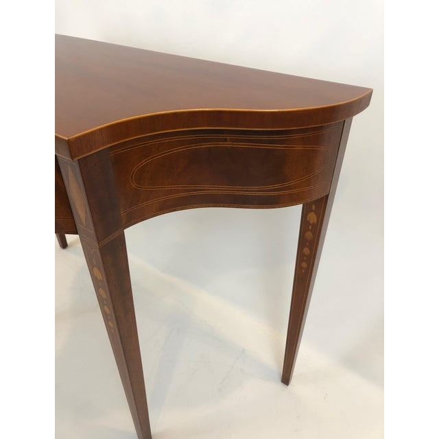 1990s Serpentine Flame Mahogany and Inlaid Console Table For Sale - Image 5 of 10