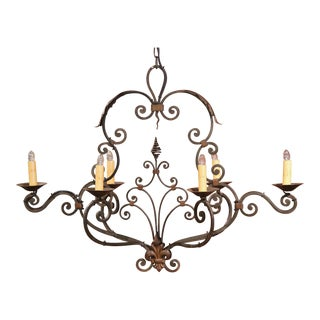 Early 20th Century French Six-Light Iron Chandelier with Fleurs-le-Lys