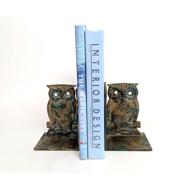 Vintage Metal Owl Bookends - A Pair - Image 5 of 9