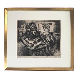 """in East Harlem"" 1930s Vintage Original Lithograph by Alexander Z. Kruse For Sale"