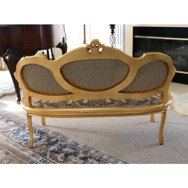 Gold Leaf Louis XV Loveseat For Sale - Image 7 of 8