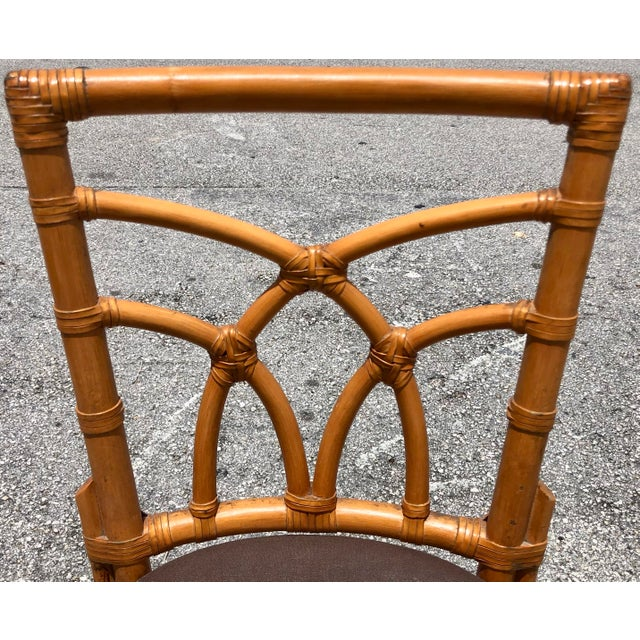 Bamboo & Leather Dining Chairs, S/12 For Sale In Miami - Image 6 of 11