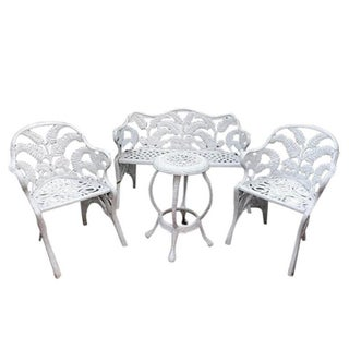 White Hollywood Regency Wrought Iron Patio Furniture Set in Fern or Palm Design Preview