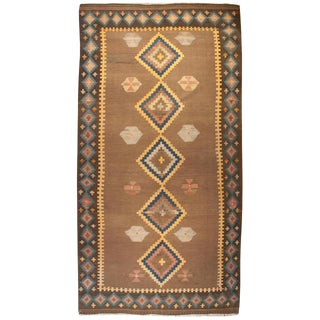 "Early 20th Century Qazvin Kilim Runner - 60"" x 136"" For Sale"