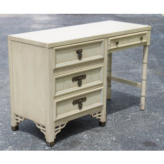 Mid Century Cream Desk of Five Drawers Preview