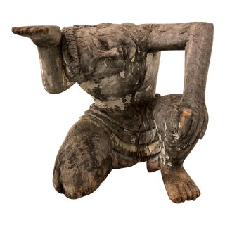 Hand Carved Crouching Man Garden Table For Sale