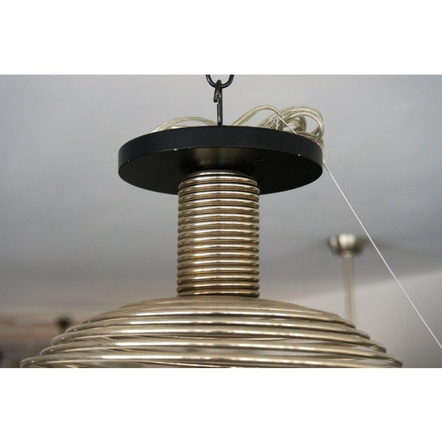 Late 20th Century Spiral Spring Chrome Industrial Style Chandelier by Angelo Mangiarotti For Sale - Image 5 of 13
