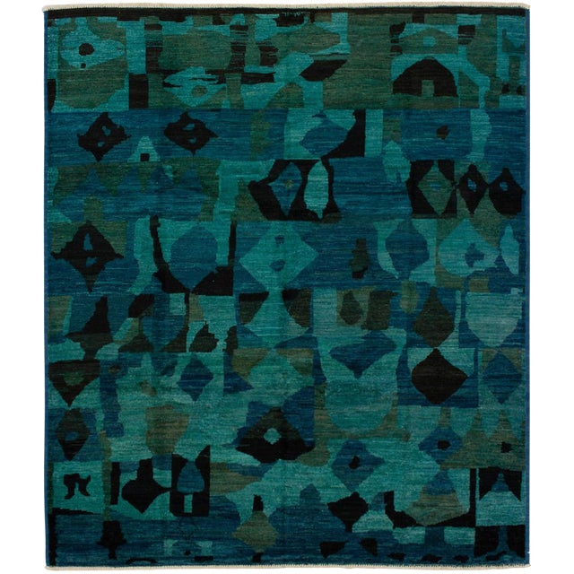 Contemporary Green and Teal Rug - 7′ × 9′ For Sale