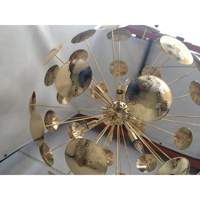 Contemporary Huge and Rare Century Gold Metal Frame Sputnik Chandelier For Sale - Image 3 of 13
