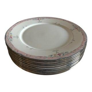 "Elegant Lenox Fine China ""Emily"" Pattern Set of 9 Dinner Plates For Sale"