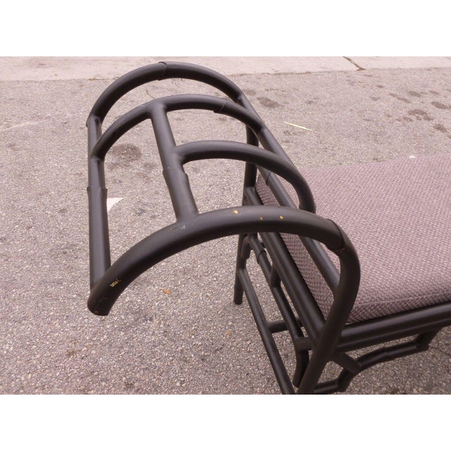 Black 1990's Vintage Post Modern Chinese Chippendale Metal Bench For Sale - Image 8 of 12