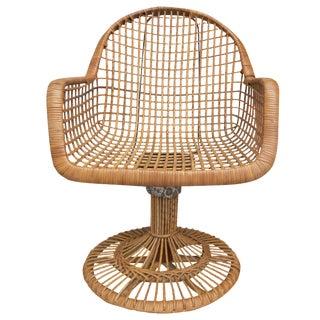 Franco Albini Era Bamboo Swivel Chair For Sale