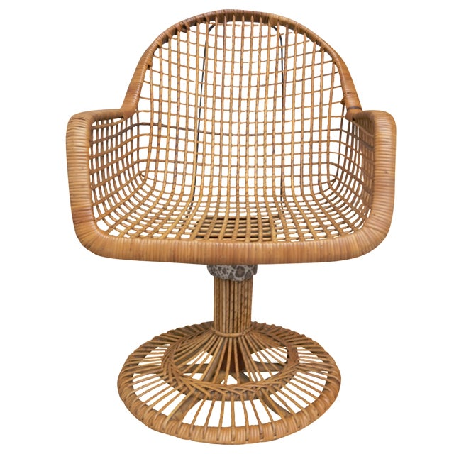 Franco Albini Era Bamboo Swivel Chair For Sale