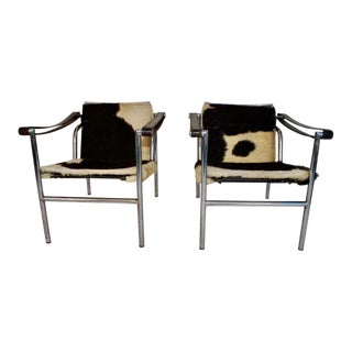 1960s Vintage Lc1 Cow Skin Chairs by Le Corbusier- A Pair For Sale