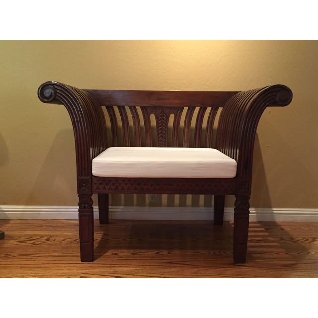 Hand-Carved Mahogany Wood Chair & Ottoman - A Pair - Image 8 of 10