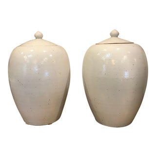 White Ceramic Jars With Lids - A Pair For Sale
