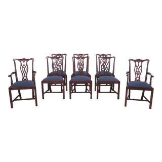 Modern Hickory Chair Co Chippendale Mahogany Dining Room Chairs- Set of 8 For Sale