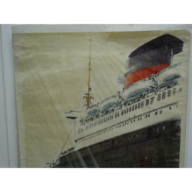 """Circa 1940 Vintage French """"Le Havre"""" Ship Poster For Sale - Image 4 of 6"""