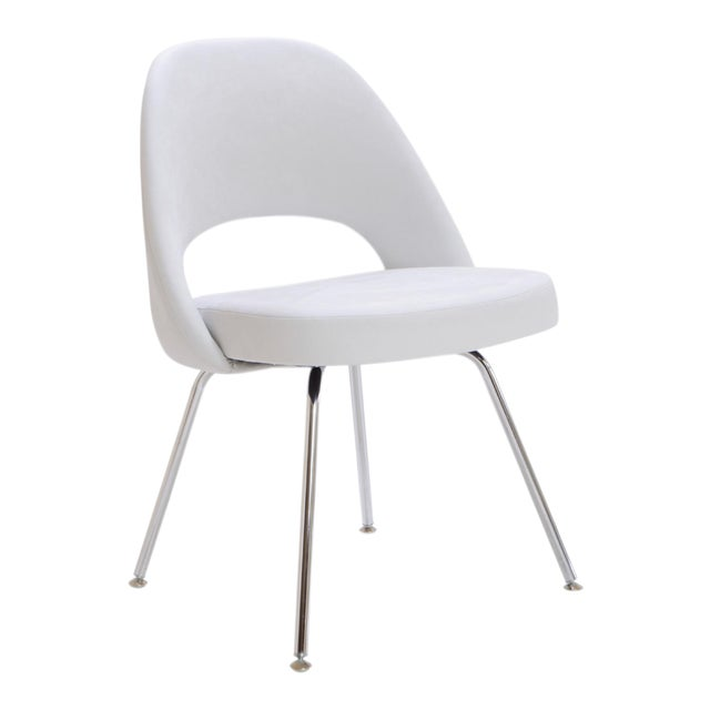 Saarinen Executive Armless Chair in Dove Luxe Suede - Image 1 of 8