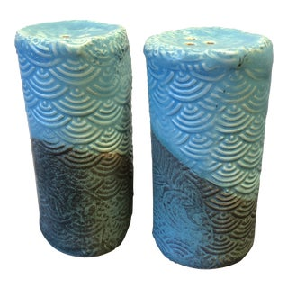 Aqua Green and Blue Pottery Salt and Pepper Shakers With Applied Fish Motif - a Pair For Sale
