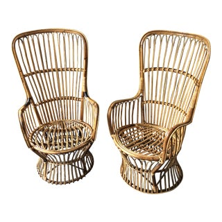 1970s Vintage Boho Chic Rattan Chairs- a Pair For Sale