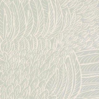Schumacher Featherfest Wallpaper in Smoke For Sale