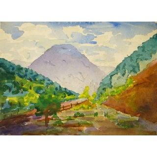 Colorful Watercolor Landscape of Idaho Springs, Colorado For Sale