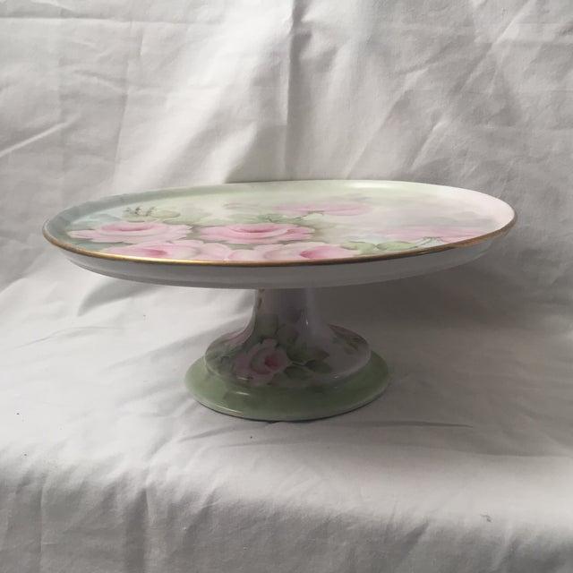 Cottage Vintage Floral Cake Plate Pedestal For Sale - Image 3 of 9