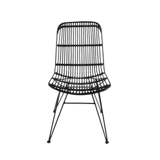 Black Rattan Woven Dining Chair For Sale