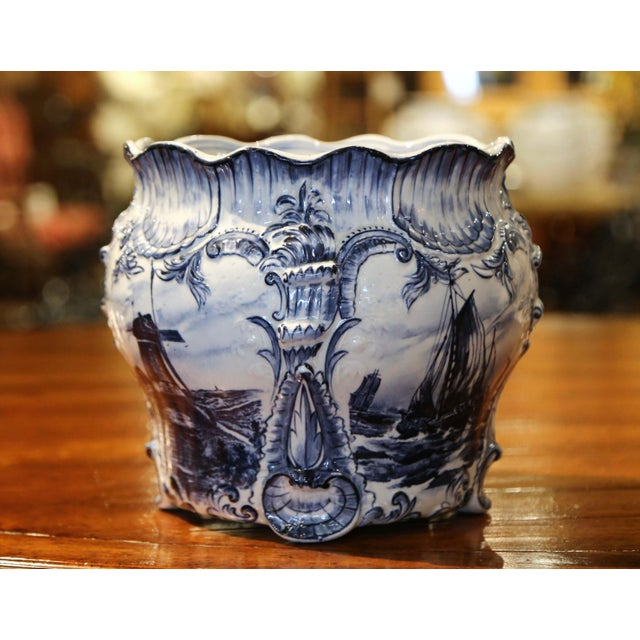 Ceramic Large 19th Century Dutch Hand-Painted Blue and White Ceramic Delft Cachepot For Sale - Image 7 of 10