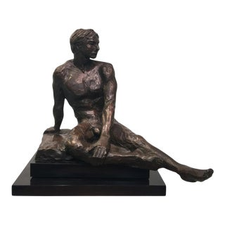 1970s Rayne Brutalist Nude Man Sculpture on Revolving Base For Sale