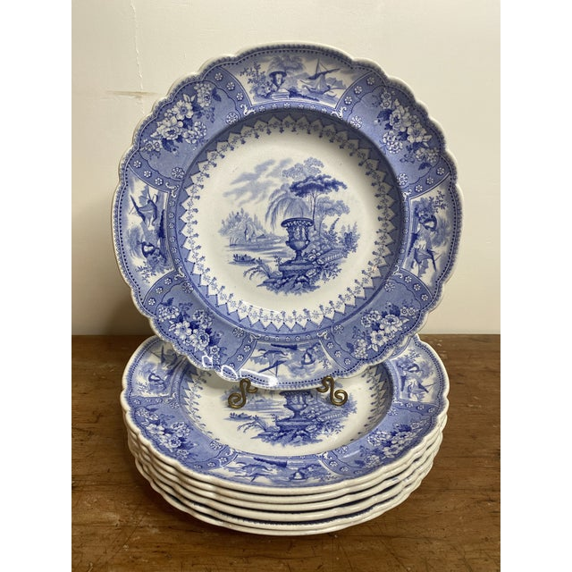 English Antique Staffordshire Blue and White Soup Bowls/Plates - Set of 7 For Sale - Image 3 of 9