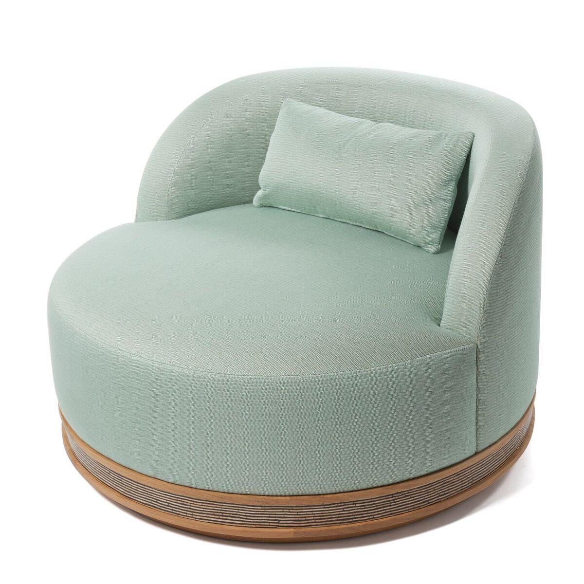 Round Armchair With Swiveling Seat Upholstered With A Linen Fabric...Beech  Frame And