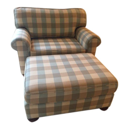 Vanguard Robins Egg Blue Caramel Buffalo Check Chair And