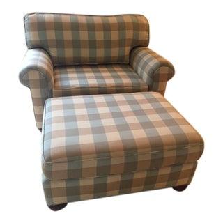 Vanguard Robins Egg Blue/ Caramel Buffalo Check Chair and Ottoman-Beach House Perfect! For Sale