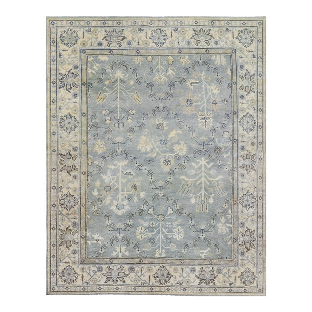 Persian Hand Woven Gray Wool Oushak Rug - 8' X 10' For Sale