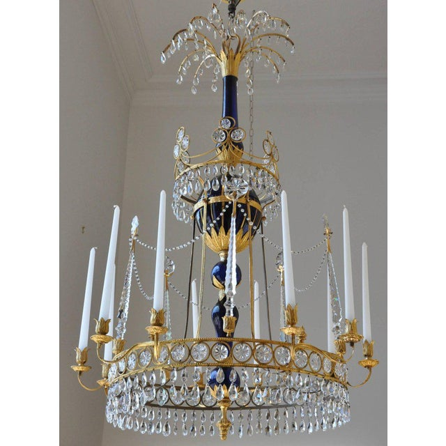 Blue Period Early 19th Century Russian Neoclassical Cobalt and Ormolu Chandelier For Sale - Image 8 of 8