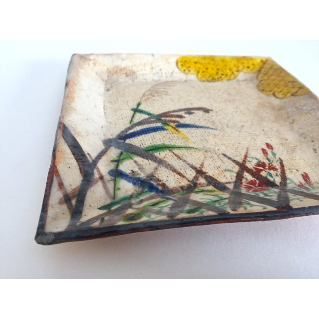 Mid 20th Century Vintage Mid Century Japan Studio Art Pottery Square Pressed Hand Painted Artisan Ceramic Plate Dish For Sale - Image 5 of 11